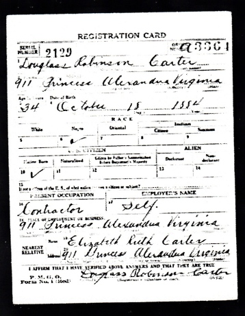Douglass Carter's WWI Draft Card