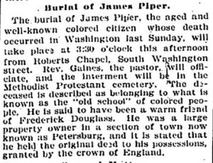 Mr. James E. Piper's death obit - Tuesday, December 20, 1898, p8 - Evening Star (Washington, DC)