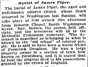 Mr. James E. Piper's death obit - Tuesday, December 20, 1898, p8 - Evening Star (Washington, DC)